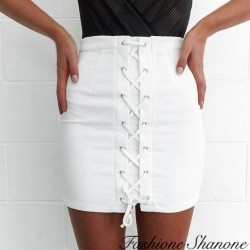 Fashione Shanone - White lace-up skirt