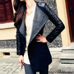 Bi-material long coat