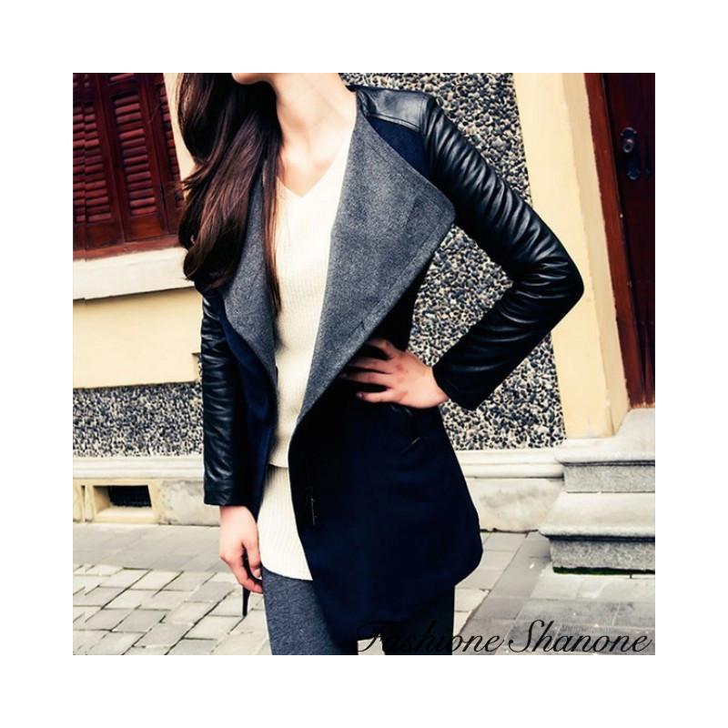 Manteau bi-matière mi-long