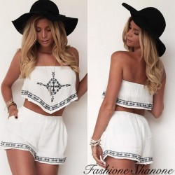 Fashione Shanone - Ensemble top court bustier et short blanc avec motif