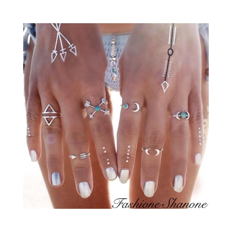 Fashione Shanone - Set of 6 ethnic boho rings