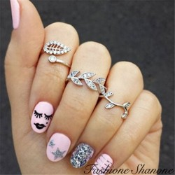 Fashione Shanone - Set of 3 top of fingers leaf rings