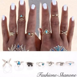 Fashione Shanone - Set of 7 bohemian rings