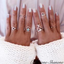 Fashione Shanone - Ensemble de 6 bagues géométriques