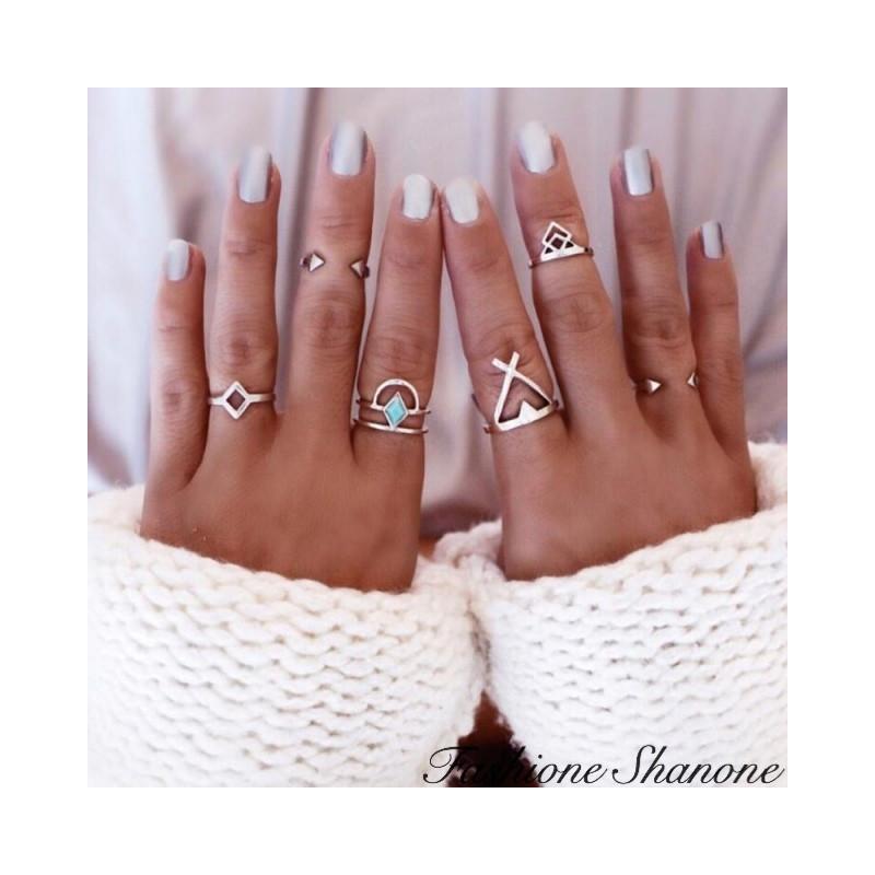Fashione Shanone - Set of 6 geometric rings