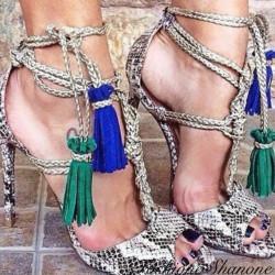 Fashione Shanone - Sandales serpent avec pompon