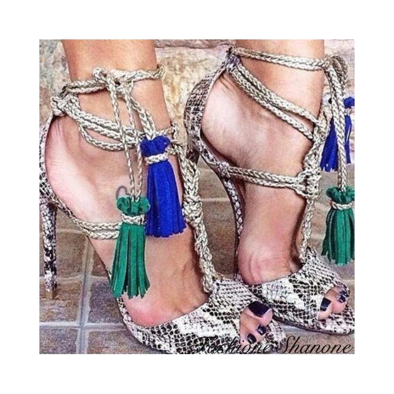 Fashione Shanone - Snake sandals with pompom