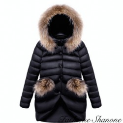 Long down jacket with hooded fur
