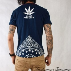 "Fashione Shanone - T-shirt ""BLOOD MESSAGE"" feuille de cannabis"