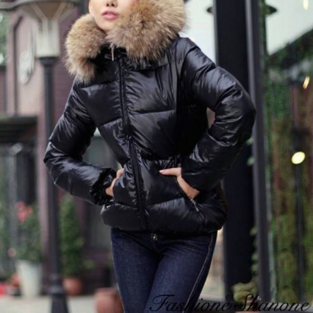 Down coat with hooded fur