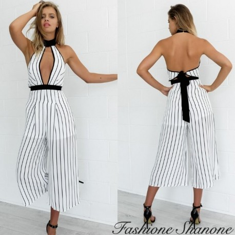 Fashione Shanone - Black and white striped pants jumpsuit