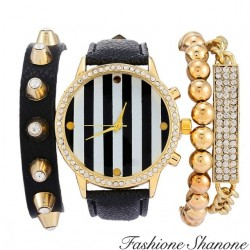 Fashione Shanone - Black and gold bracelet watch set