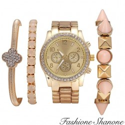 Fashione Shanone - Bracelet watch pink gold with spike set