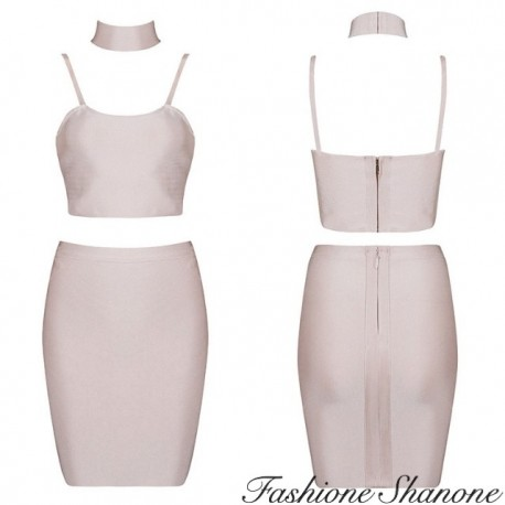 Fashione Shanone - Crop top and skirt set with choker