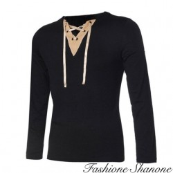 Fashione Shanone - Long sleeves T-shirt with lace-up