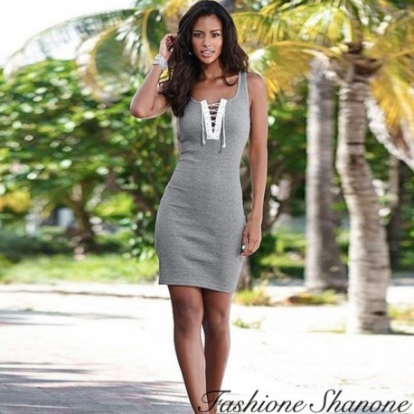 Fashione Shanone - Grey dress with lace-up