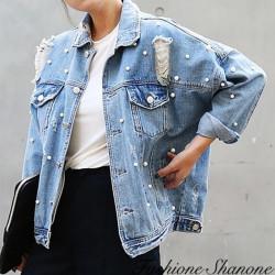 Fashione Shanone - Veste en jean perlé