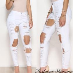 Fashione Shanone - Ripped white skinny jeans