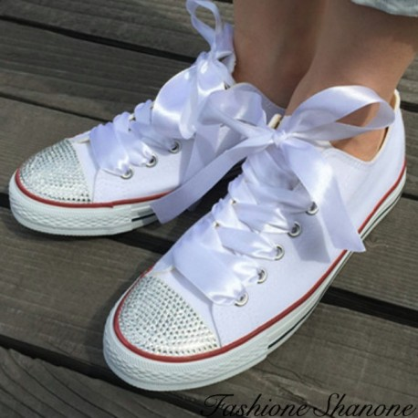 Rhinestones sneakers with ribbon lace-up