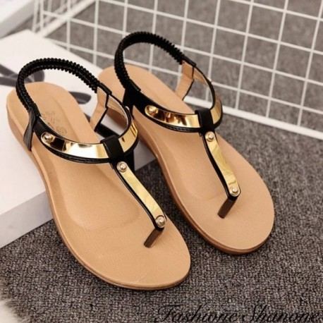 Fashione Shanone - String sandals with golden metal