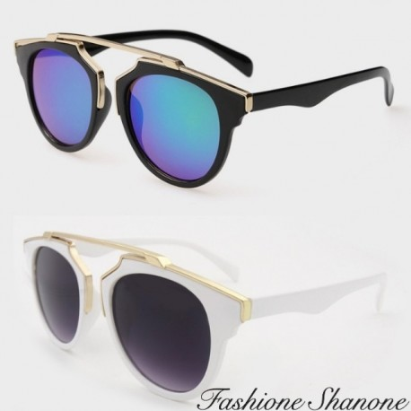 Fashione Shanone - Retro sunglasses with golden metal