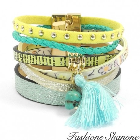 Fashione Shanone - Yellow and green leather boho bracelet