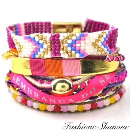 Fashione Shanone - Pink and Golden multi-layer bracelet