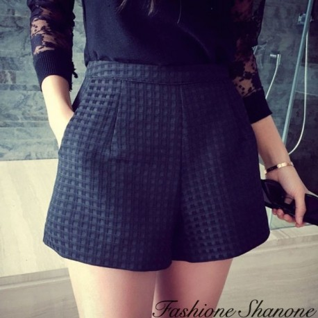 Fashione Shanone - High waist plaid shorts