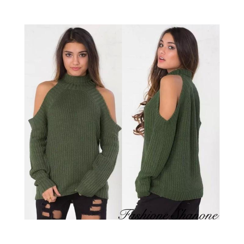Fashione Shanone - Army green shoulder off sweater