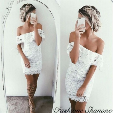 Fashione Shanone - White lace dress with shoulder off