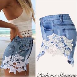 Fashione Shanone - Short en jean avec dentelle