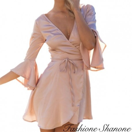 Fashione Shanone - Flared flowing pink dress
