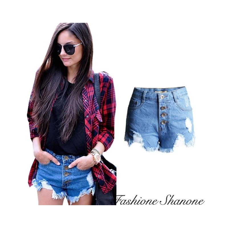 Fashione Shanone - Denim high waist shorts