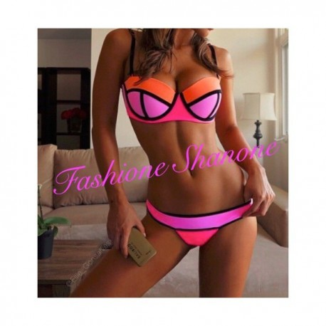 Bikini push-up rose violet et orange