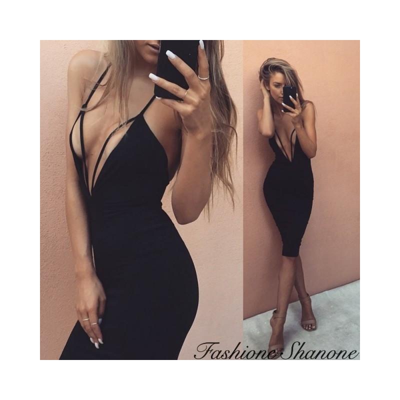 Fashione Shanone - Plunging neckline dress with strips