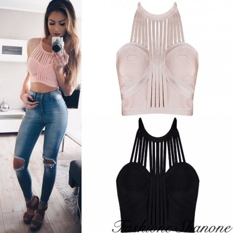 Fashione Shanone - Halter crop top with fringes