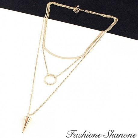 Fashione Shanone - Triple necklace in one with ring and spike