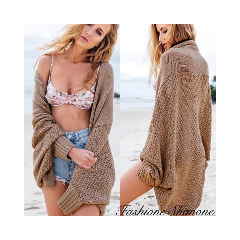 Fashione Shanone - Beige loose cardigan