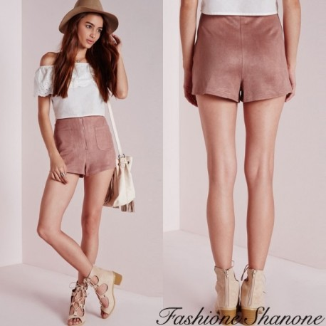 Fashione Shanone - Pink suede high waist shorts