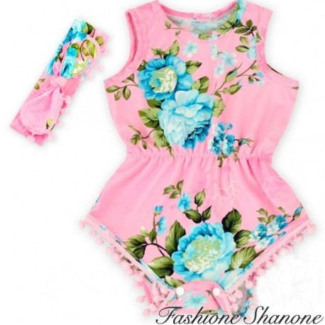 Fashione Shanone - Floral shorts jumpsuit with headband