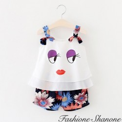 Fashione Shanone - Face top and flowered shorts set