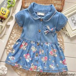 Fashione Shanone - Robe en jean manches courtes fleurie