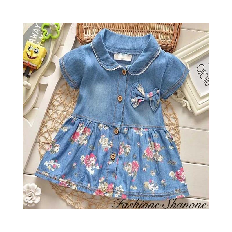 Fashione Shanone - Floral short sleeve jean dress