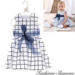 Fashione Shanone - Robe blanche et bleue quadrillée