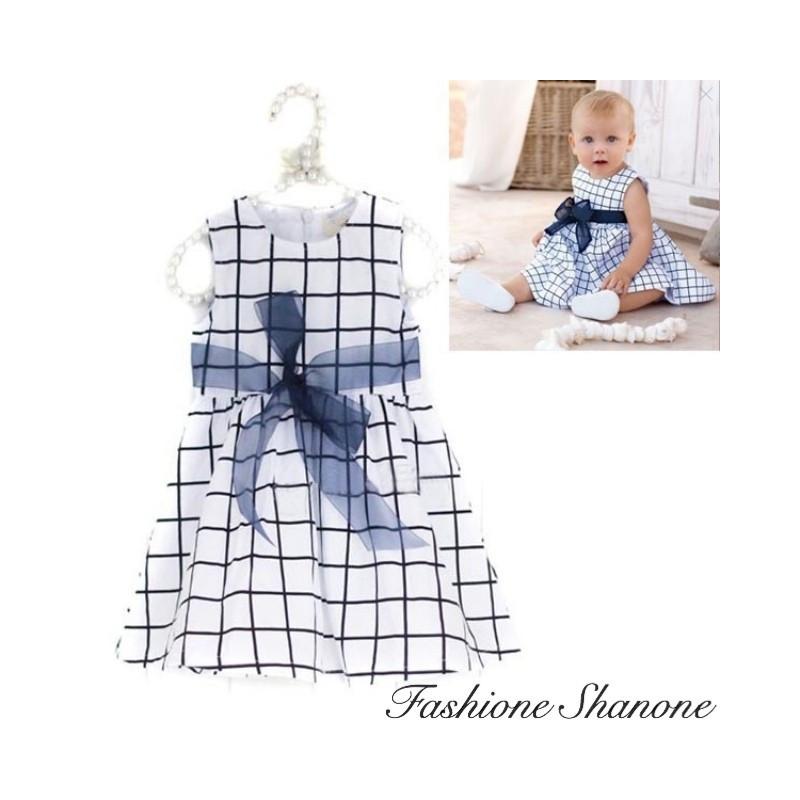 Fashione Shanone - White and blue squared dress