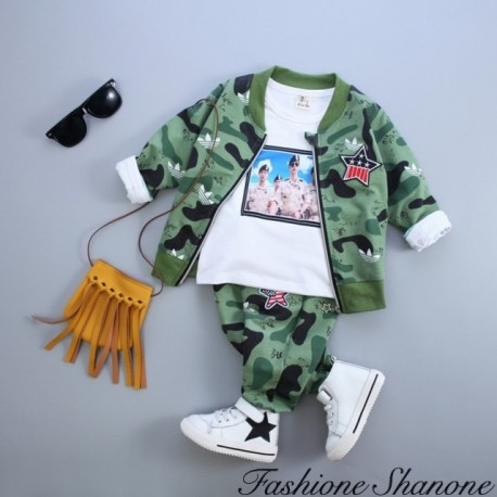 Fashione Shanone - Military T-shirt jacket and pants set