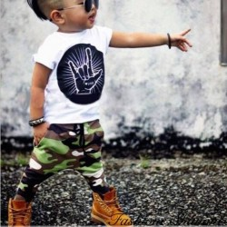Fashione Shanone - Ensemble T-shirt et pantalon militaire