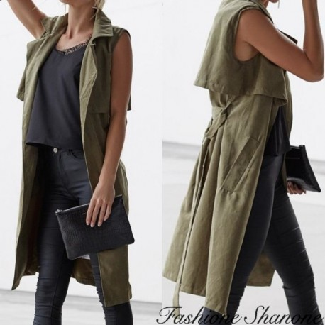 Fashione Shanone - Khaki sleeveless trench