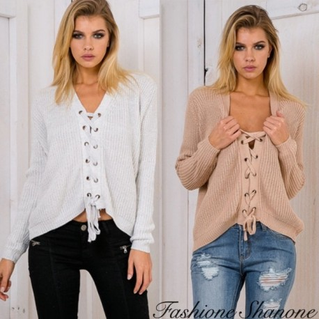 Fashione Shanone - Lace-up floppy sweater