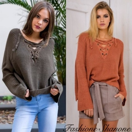 Fashione Shanone - Lace-up wide sweater